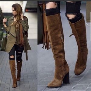 Zara Knee High Block Heel Suede Boots 38